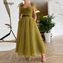Verngo terra verde organza curto vestidos de noite com cinto de veludo cintas de fita chá comprimento vestidos de baile 2021 formal vestido de festa