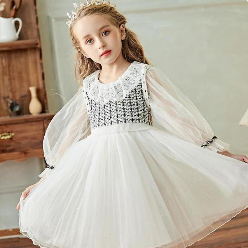 Kids Dresses For Girls 2020 Girl Dresses Embroidery Sleeve Princess Flower Girl Dresses For Wedding England Style Puff Sleeve