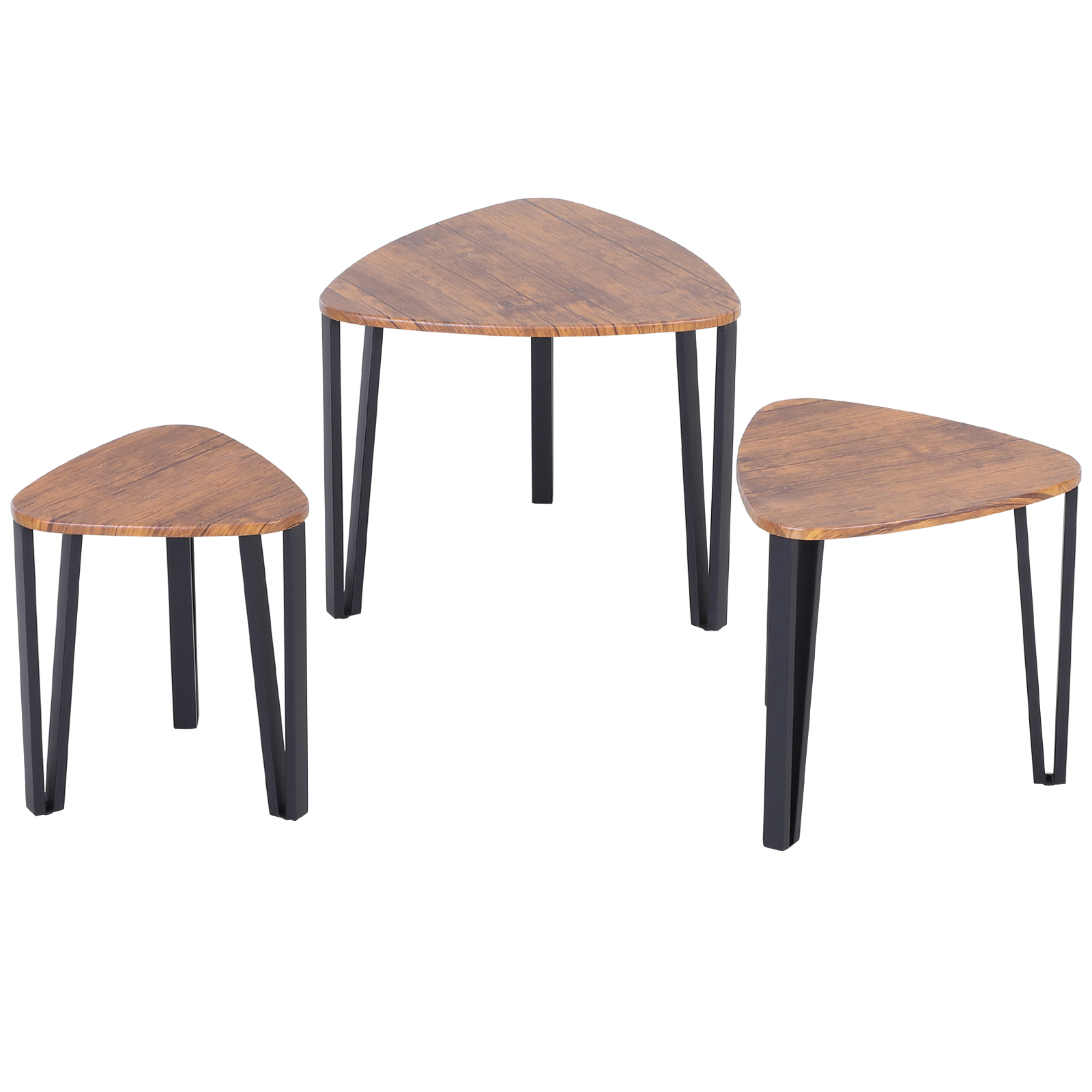 HOMCOM Set 3 Different Sizes Finish Walnut Design Coffee Tables