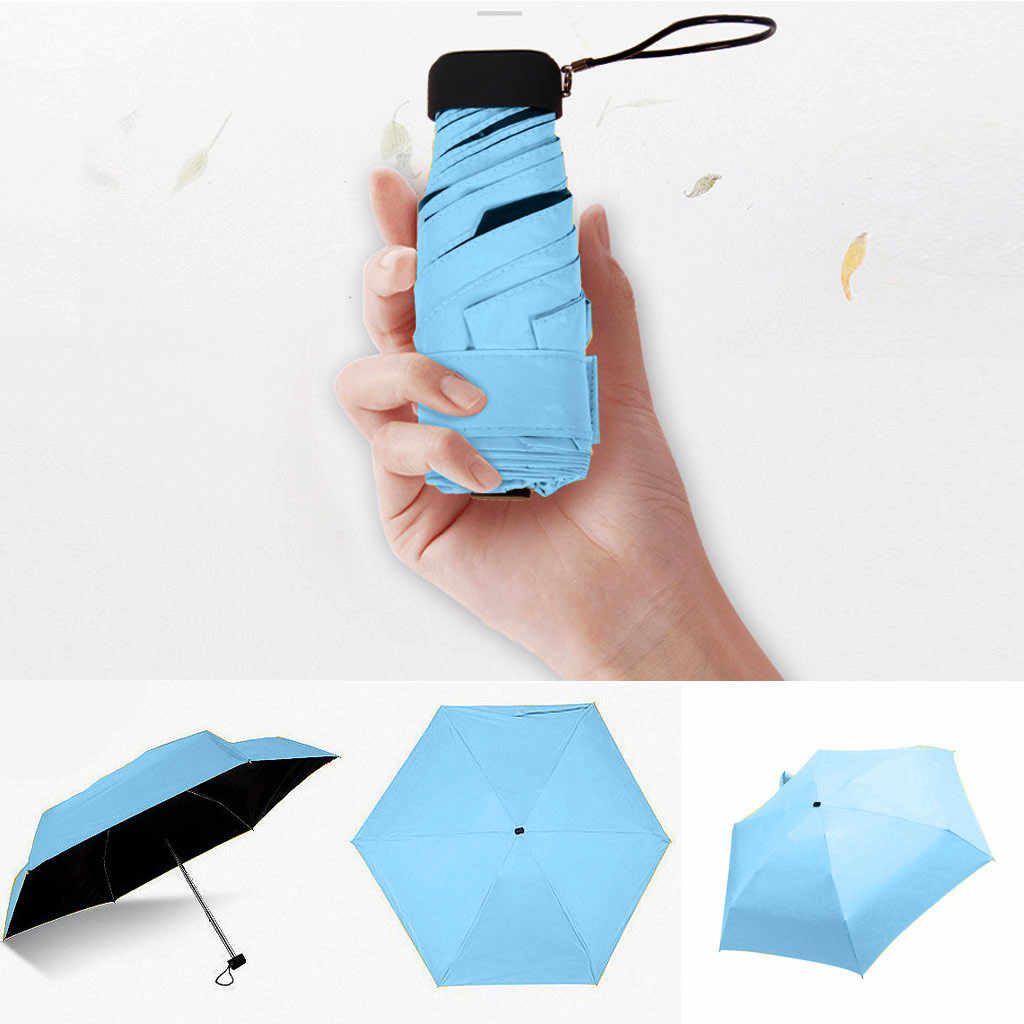 מטריית שמש גשם נשים שטוח קל משקל מטריית שמשייה מתקפל שמש מטריית מיני מטריית קטן גודל בקלות חנות שמשייה