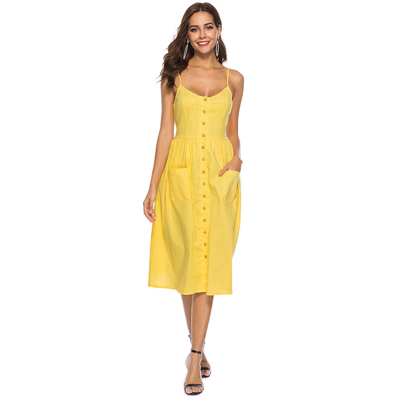 New Arrival Elegant Solid Spaghetti Strap Women Summer Dress 2019 Pocket Open Back Mini Dresses Women Casual Party Vestidos in Dresses from Women 39 s Clothing