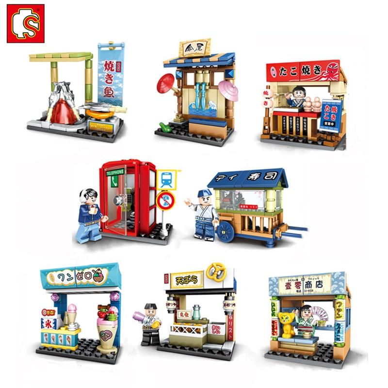 SEMBO Sakura City Street View Buildings Blocks Takoyaki Ice-Cream Shop Compatible Girls Bricks Toys For Children Xmas Gift