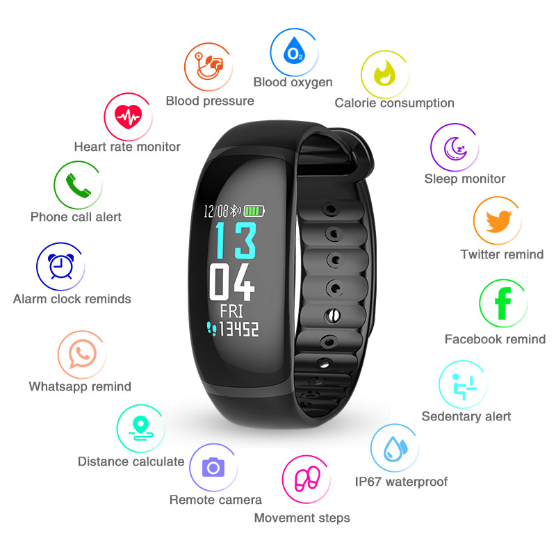 B70 SmartBracelet IP67 Waterproof Heart Rate Blood Pressure Oxygen Fitness Tracker Sport Wristband for Android pk T70 SmartWatch