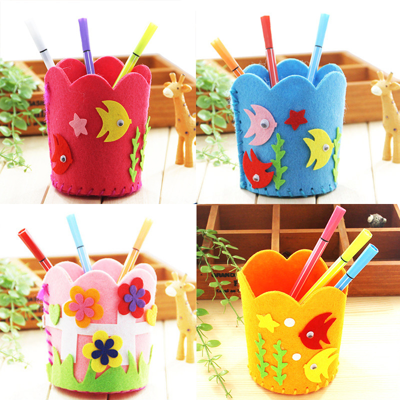 Non-Woven Fabric DIY Pencil Holder Children Craft Toy Mini Bag Non-woven Cloth Colorful Handmade Bag Cartoon Animal Children Toy