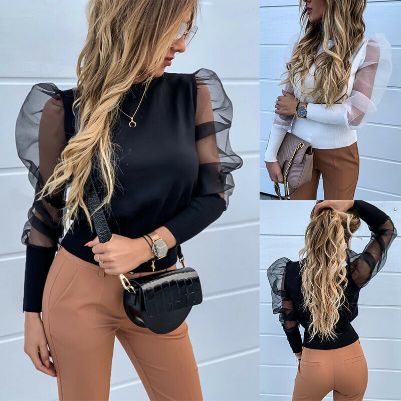 Modis Women Transparent Sexy White Blouses Mesh Sheer Puff Long Sleeve Shirts Chiffon Knitted Ladies Autumn Winter Clothes