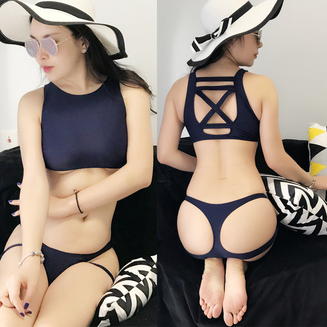 Hot New Japanese students Big Size Swimsuit Sukumizu School Swimwear bandageThree point sexy Bikinis set shoulders Deep blue