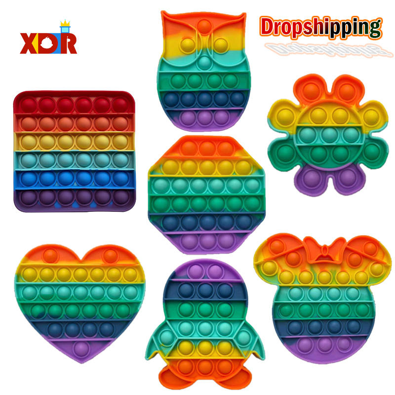 Sensory Toy Stress-Toys Pop Fidget Rainbow-Push Children Reliver Adult It