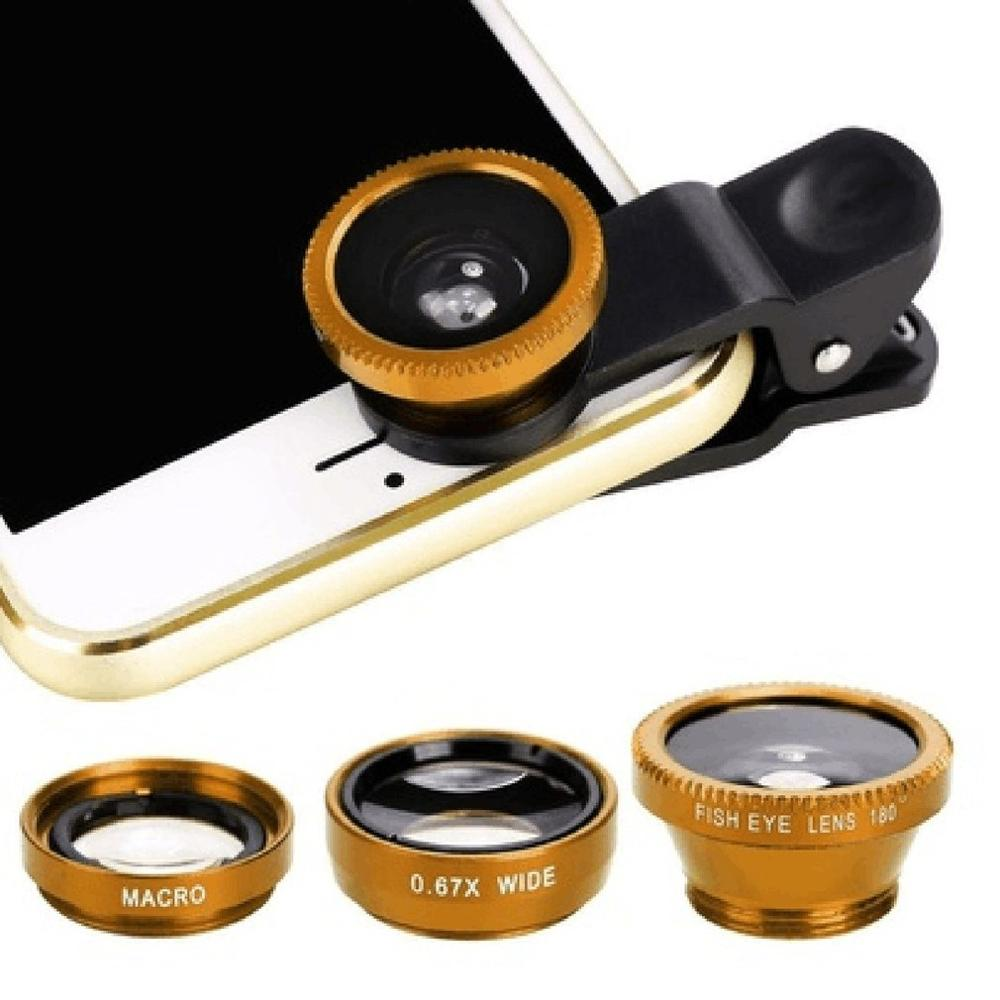 3 в 1 Многофункциональный телефон комплект объектива Рыбий линзы+ макросъемочные линзы+ Широкий формат объектив превратить телефон в профессиональный Камера - Цвет: gold