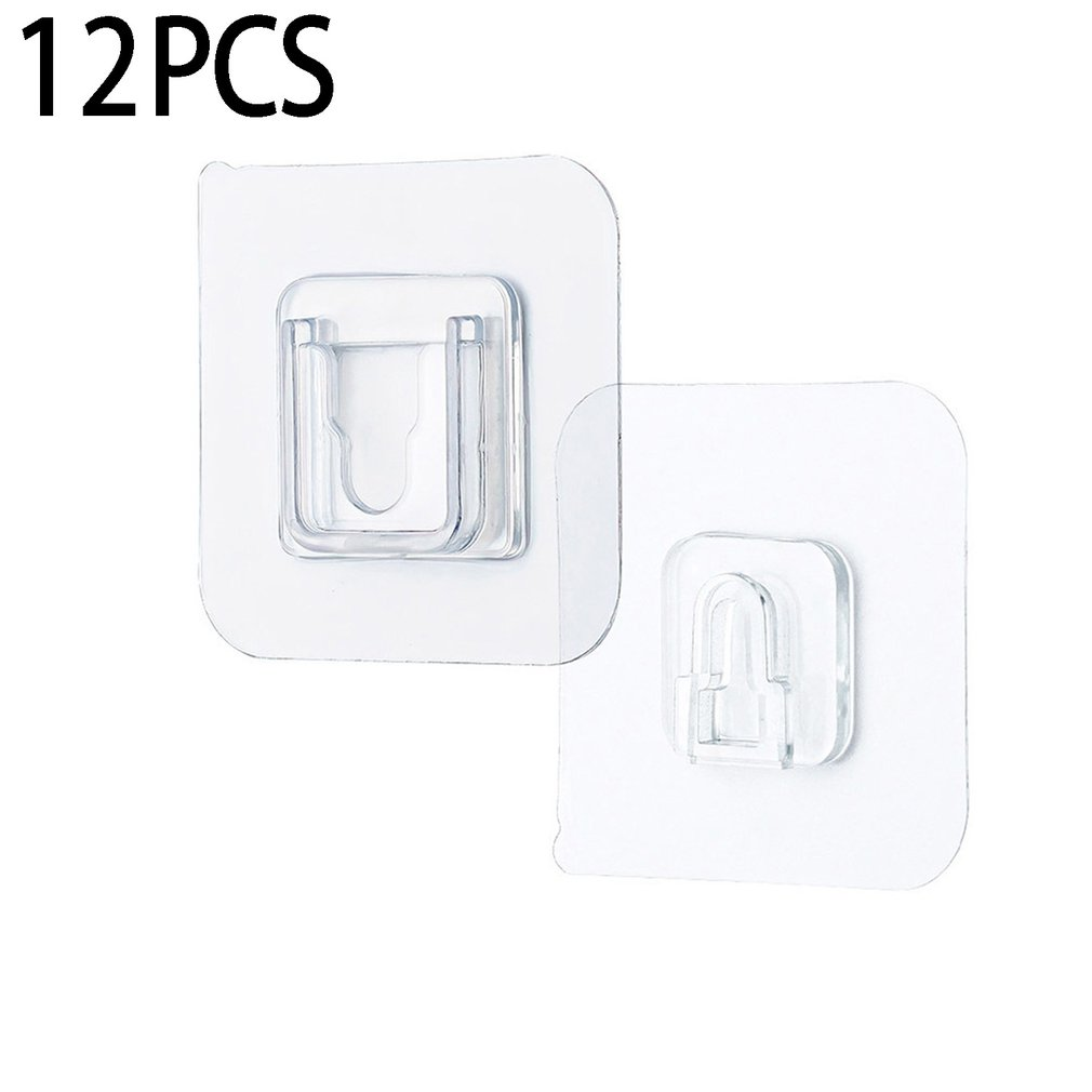 Double-Sided Adhesive Wall Hooks Reusable Waterproof Seamless Hanging Hook Transparent Suction Wall Storage Holder