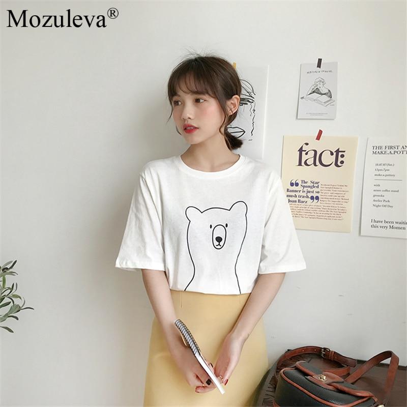 H787285f2fc354bb9857679b0f5d5456c8 Mozuleva 2020 Chic Cartoon Bear Cotton Women T-shirt Summer Short Sleeve Female T Shirt Spring White O-neck Tees 100% Cotton