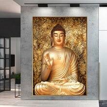Холст золотого цвета Будда живопись печать домашний декор настенная