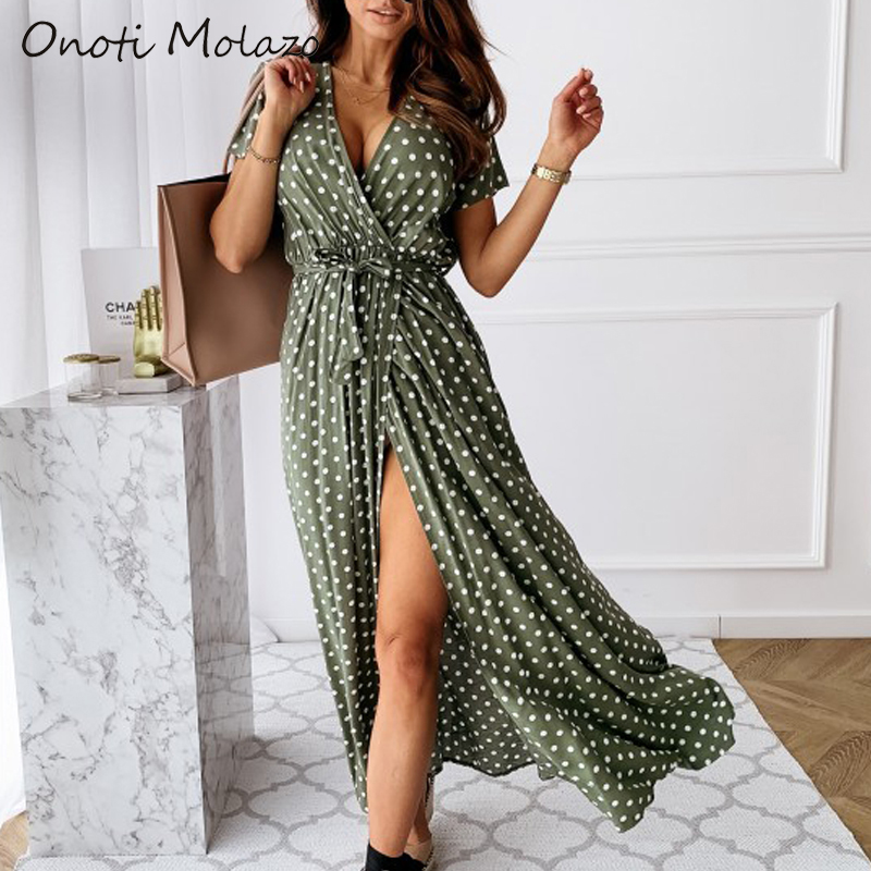 Onoti Molazo Casual Dot Print Maxi Dress Women Vogue Ladies Fashion Summer Long Split Dresses Vestidos Female 2020 Spring New