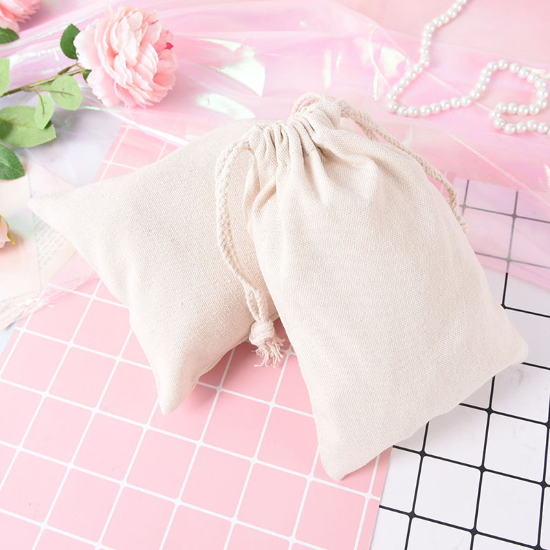 10pcs Cotton Linen Storage Package Bag Drawstring Bag Travel Women Small Cloth Bag 10*14.5cm