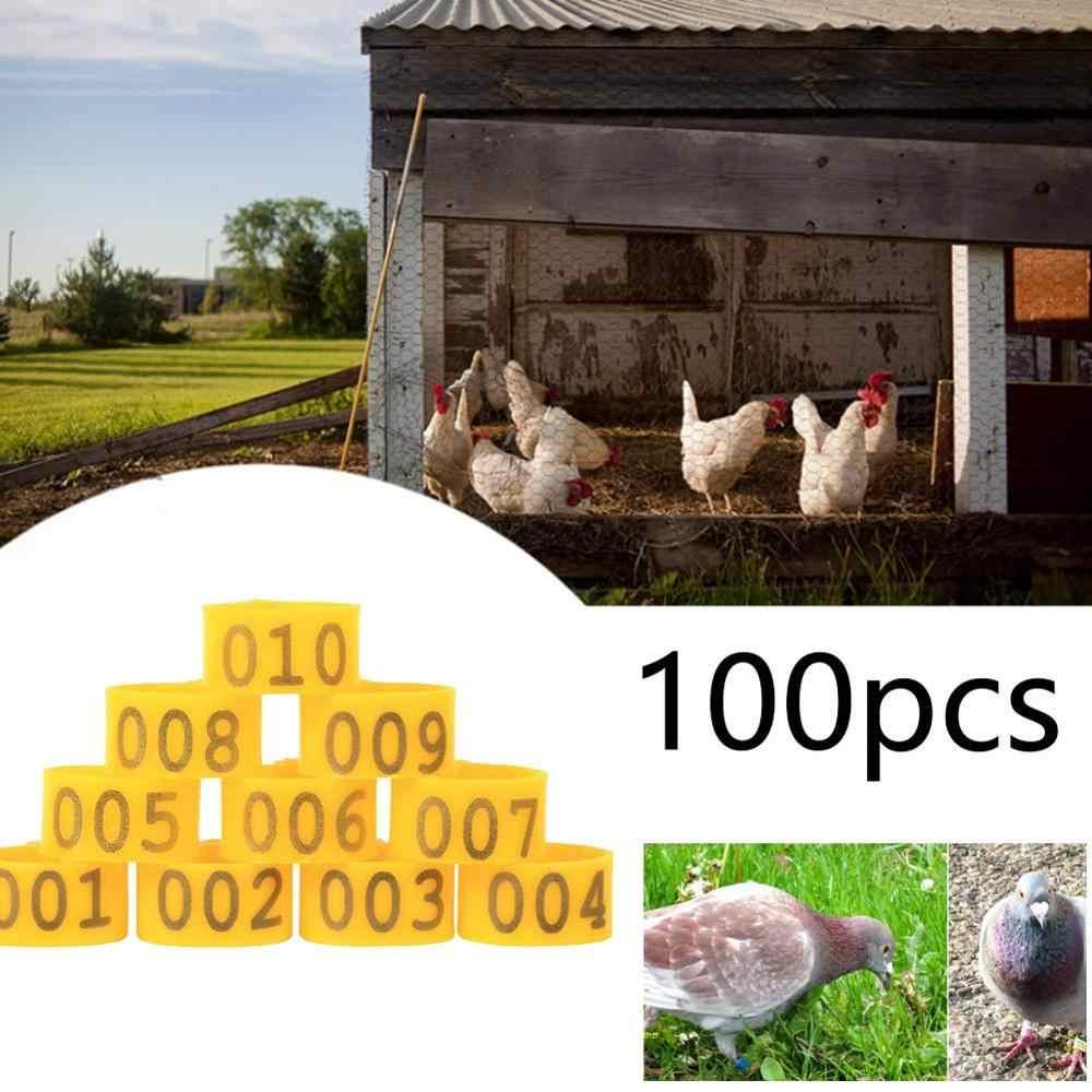 100PCS 20MM 001-100 ממוספר פלסטיק עופות תרנגולות ברווזים אווז רגל להקות טבעות קליפ-על עופות להקת זיהוי 5 צבעים