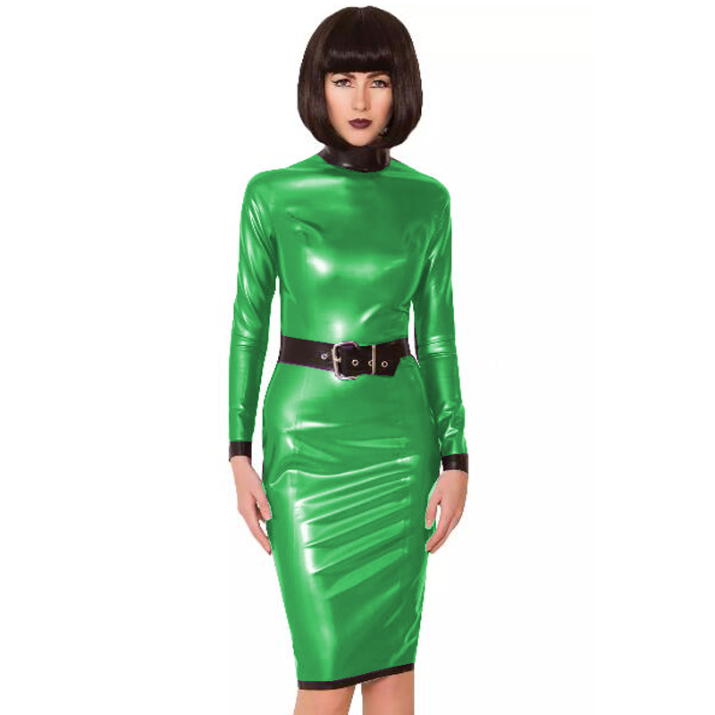 24 Colors Back Zipper Long Sleeve Knee Length Dress Lady Slim Vestido Fashion Patchwork Color Midi Dress Sexy Stage PVC Clubwear 30