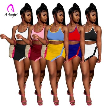 Fitness Women Sport 2 Piece Set Tracksuit Halter Neck Backless Sexy Crop Top Split Mini Skirt Matching Set Outfits Dress Outfits marled knit crop top with split skirt