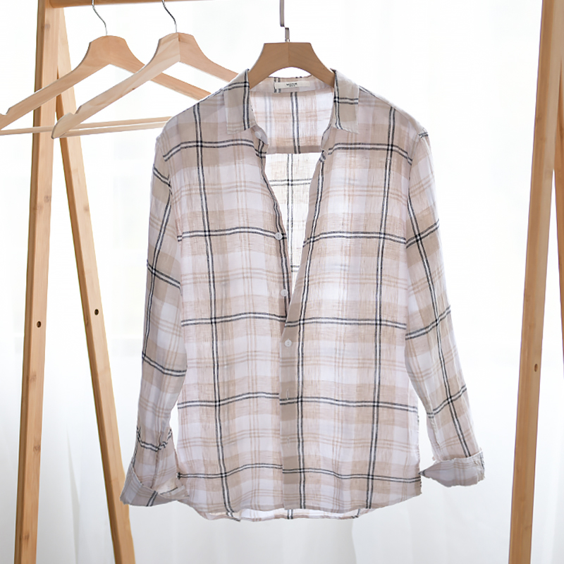 2020 New design 100% linen plaid shirt men brand summer and spring shirts for men comfortable long sleeve shirt mens chemise
