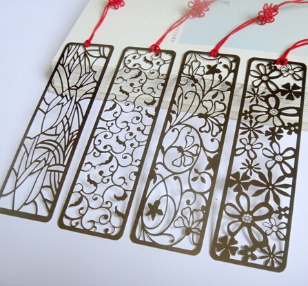 4pcs/lot Vintage Metal Rectangular For Kids Student Gift Hollow Plant Art Bookmarks Four Mixed School Supplies