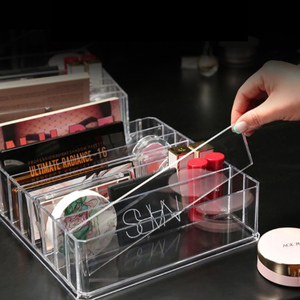 Image 4 - 8 layer Makeup Storage Box Acrylic Cosmetic Organizer Transparent Lipstick Blush Storage Display Compartment Grid Plastic Box