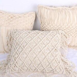 Наволочки из 100% хлопка и льна макраме, ручная нить, наволочки для подушек, Геометрическая наволочка в богемном стиле, домашний декор 45*45 см