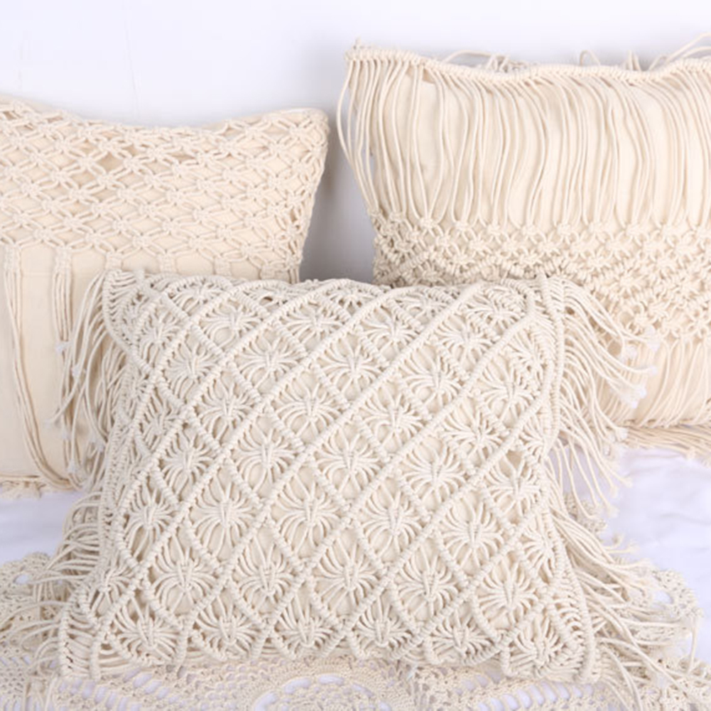 Cushion Covers 100% Cotton Linen Macrame Hand-woven Thread Pillow Covers Geometry Bohemia Style Pillowcase Home Decor 45*45cm
