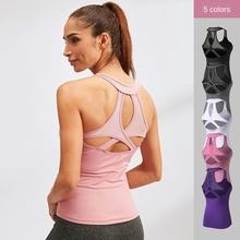 Ms. Yoga Vest Sexy Hollow Tight Quick Drying Clothes Ultra-Stretch Breathable Fitness Running Sports Vest Top