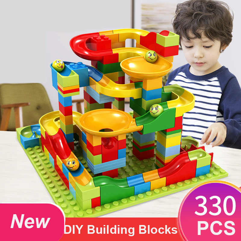 165/330PCS Marble Race Run DIY Maze Balls Building Blocks Plastic Slide Blocks Bricks Constructor Toys for Children Gifts