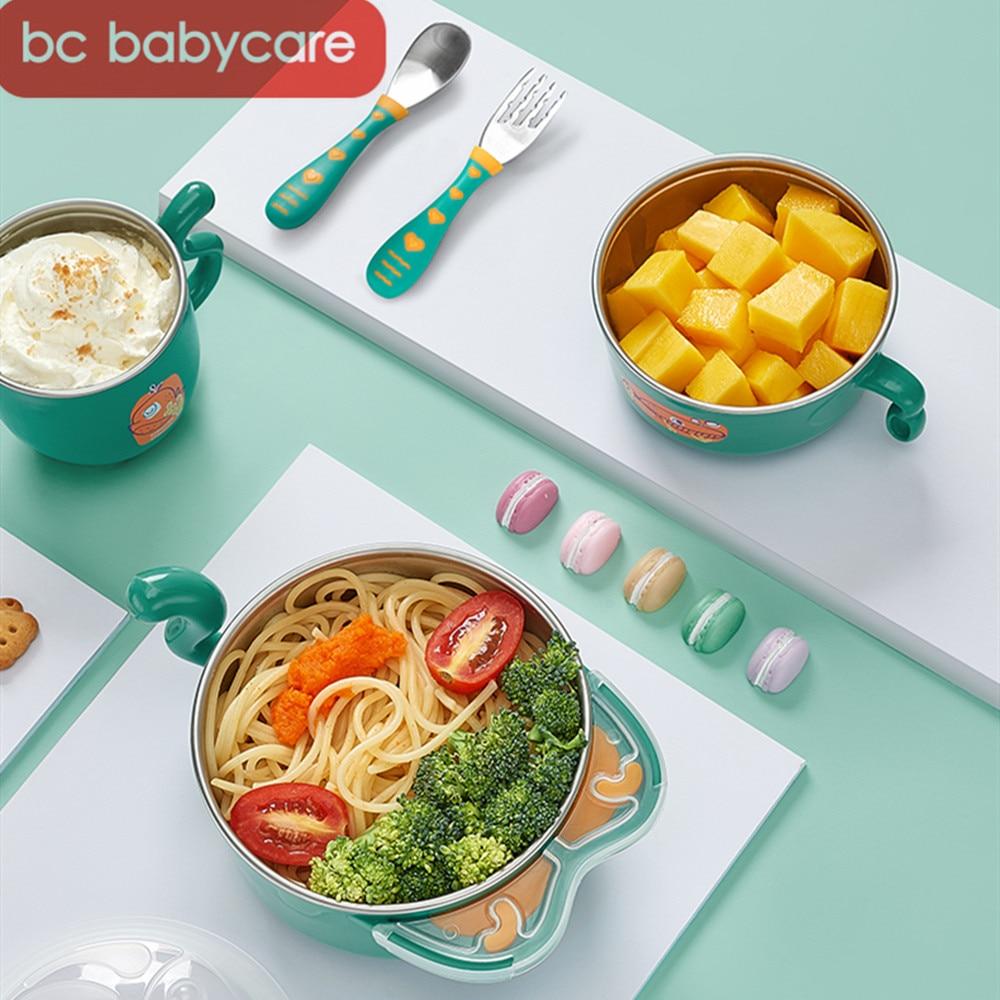 bc babycare 6 pcs conjunto tigela de alimentacao de alimentos termicos aco inoxidavel do bebe com
