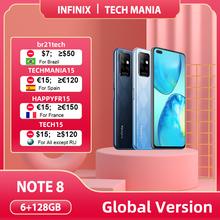 Globalna wersja Infinix Note 8 inteligentny telefon 6GB RAM 128GB ROM 6 95 Cal HD + wyświetlacz 5200mAh 18W szybkie ładowanie mobilny X692-K tanie tanio Niewymienna CN (pochodzenie) Android Zamontowane z boku ≈64MP Adaptacyjne szybkie ładowanie english Rosyjski 1600x720
