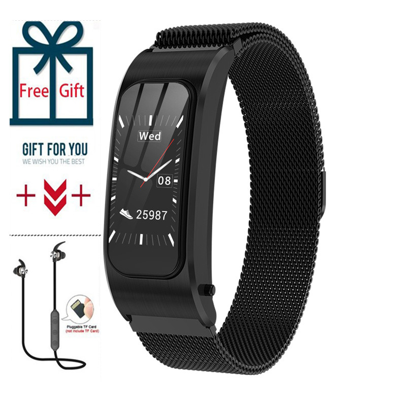 Men Smart Bracelet Bluetooth Headset SmartWatch Heart Rate Monitor Women Sport WirstBand Fitness Tracker Music Ear-hook Earphone