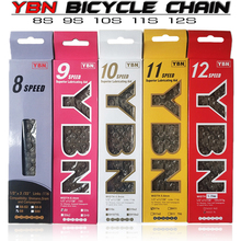YBN Bike Chains MTB Mountain Road Bike Chians 11 Speed Hollow Bicycle Chain 116 Links Silver S11S with missinglink for m7000 XT ybn bicycle titanium ultralight chains mtb mountain road bike 11 speed bicycle chain 116 links for shimano campanolo sram system