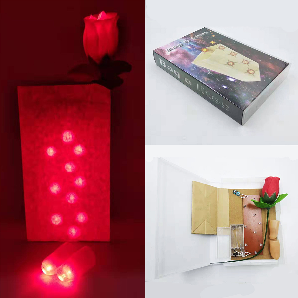 Bag O Lites Flashing Rose Fingers Light Stage Professional Magic Tricks Free Shipping Props Toys Include Battery