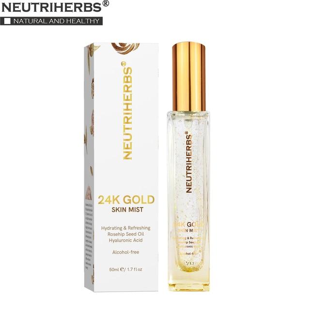 Neutriherbs 24k Nano Gold Skin Mist Hydrating Moisturizing Nano Mist for Acne Gold Natural Face Toner 50ml 1