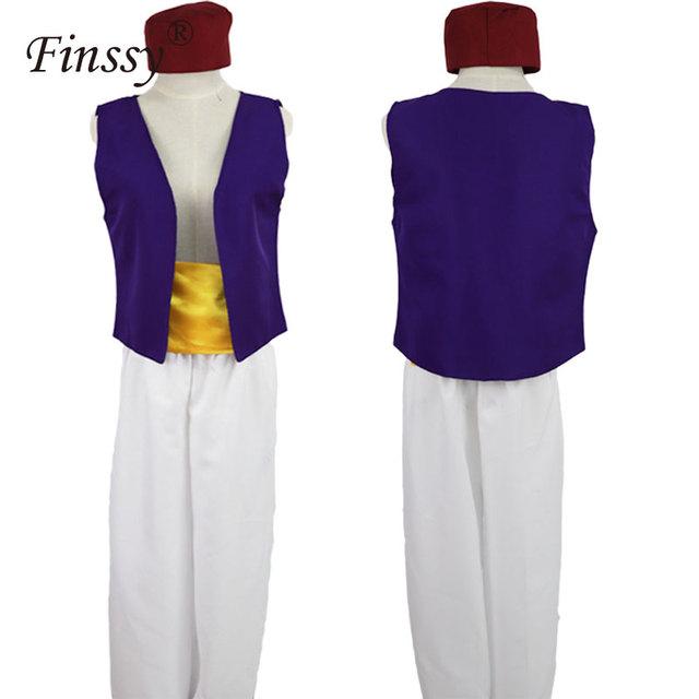 Dla dorosłych Aladdin lampa książę Aladdin kostium dla dzieci dla chłopców Anime Cosplay kostiumy Adam książę Halloween kostiumy dla mężczyzn tanie tanio Finssy Zestawy Other Spodnie COTTON Aladdin Cosplay Costume for Men