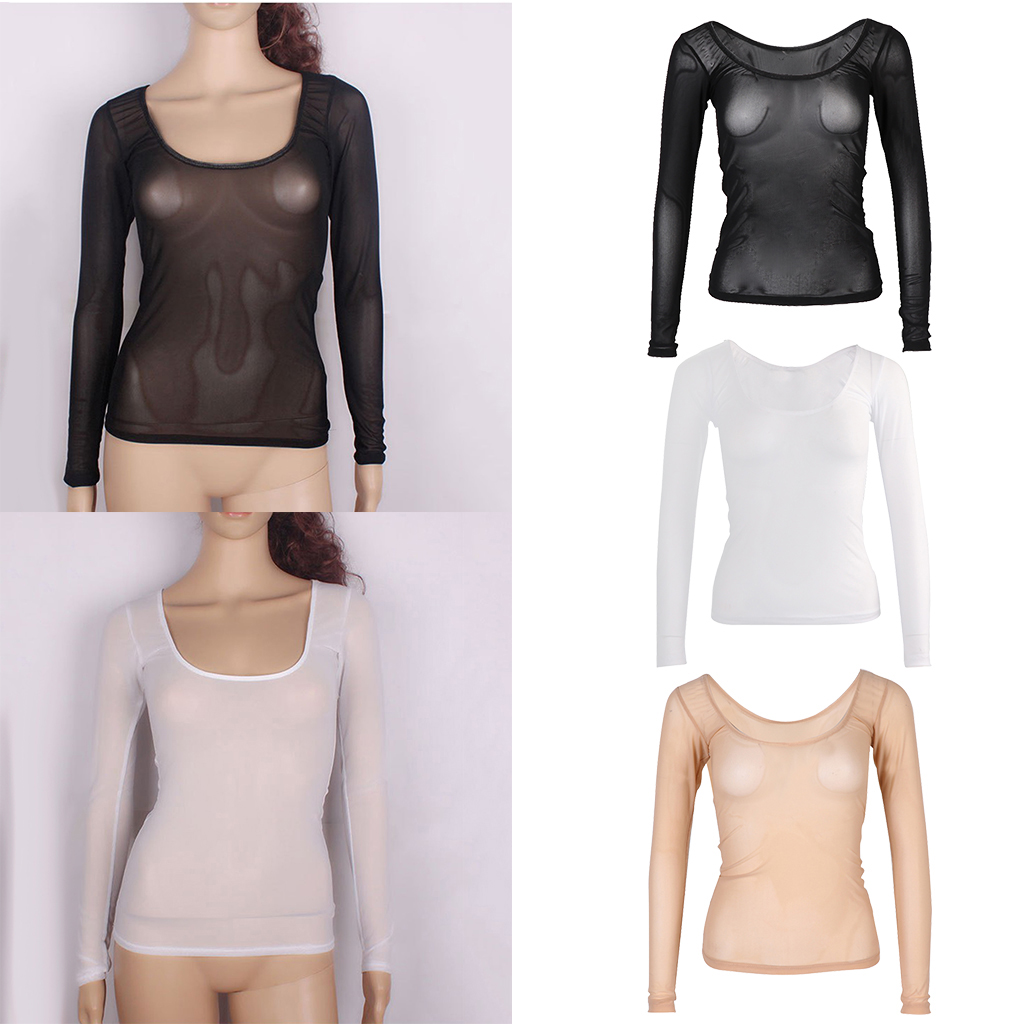 Womens Round Neck Long Sleeve Slim Fit Shirts Dance Practice Unique Tops