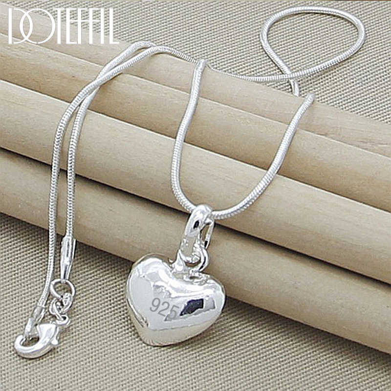 Sterling Silver Heart Pendant Charm Necklace 18 inch Snake Chain