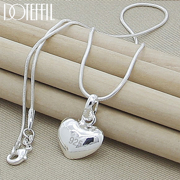 DOTEFFIL 925 Sterling Silver Solid Heart Pendant Necklace 18/20/22/24 Inch Snake Chain For Women Wedding Charm Fashion Jewelry - discount item  44% OFF Fine Jewelry