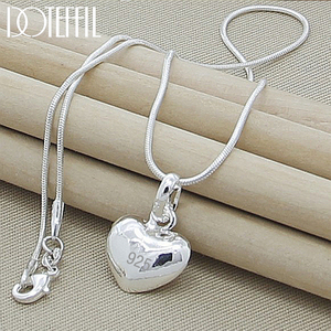 DOTEFFIL 925 Sterling Silver Necklace 18 Inch Snake Chain Fashion Jewelry Heart Pendant Necklace For Women Girl Lady Gifts