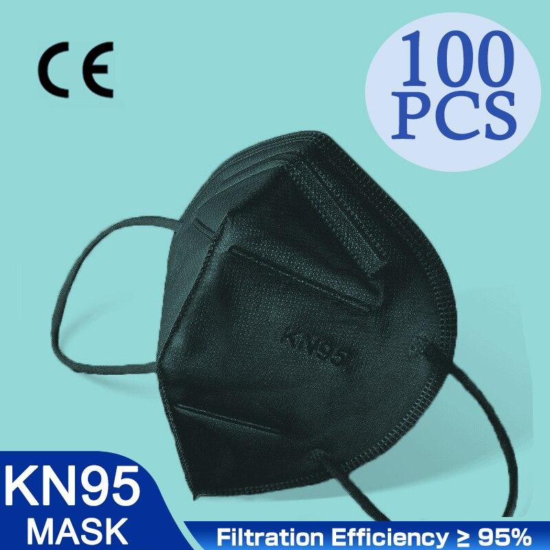 Высокое качество 5 слоев FFP2 маска Black Dust Безопасность респиратор защитное KN95 маска для лица Уход за кожей лица KN95Masks фильтр пыле многоразовые...
