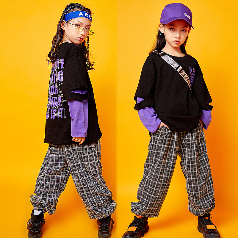 Enfants Hip Hop vêtements filles Jazz rue danse Costume enfants printemps sweat pantalon ensemble salle de bal Dancewear scène tenue SL1965