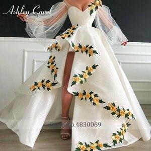 Image 2 - Seksi sevgiliye dantel düğün elbisesi 2020 puf kollu 3D çiçekler Lace Up yüksek/düşük A Line Ashley Carol gelin kıyafeti Vestido De noiva