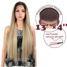 """Sihirli 13X4 dantel ön peruk siyah kadınlar için uzun 32 """"inç ısıya dayanıklı düz peruk sarışın doğal sentetik peruk Cosplay saç"""