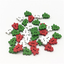 100pcs color wooden button cartoon Christmas tree button clothing accessories handmade supplies Christmas clothes accessories