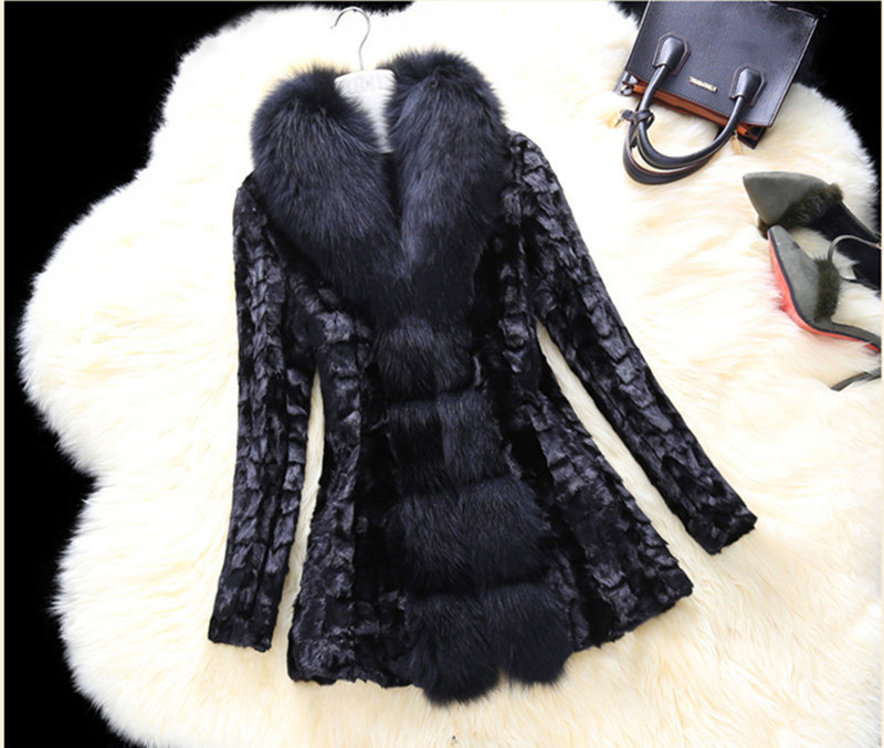 Luxury 2020 Real Mink Fur Coat Warm Winter Jacket Women Coats Large Natural Fox Fur Collar Plus Size 5XL 6XL 7XL A0809 S