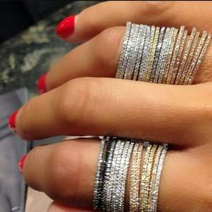 Cz-Ring Stack Micro-Pave Eternity Sterling-Silver 925 3-Colors Thin-Line