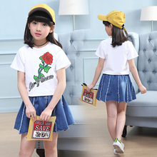 2019 feiluo Summer Shirt+ skirt 2pcs set Clothing Kids jeans Skirt For 5 6 9 Years baby girl clothes TTX083 girls ruffle outfits