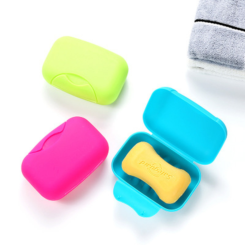 Portable Color Soap Dish Box Case Holder Container Wash Shower Home Shower Bathroom Sealed Soap Case Round Travel Supplies