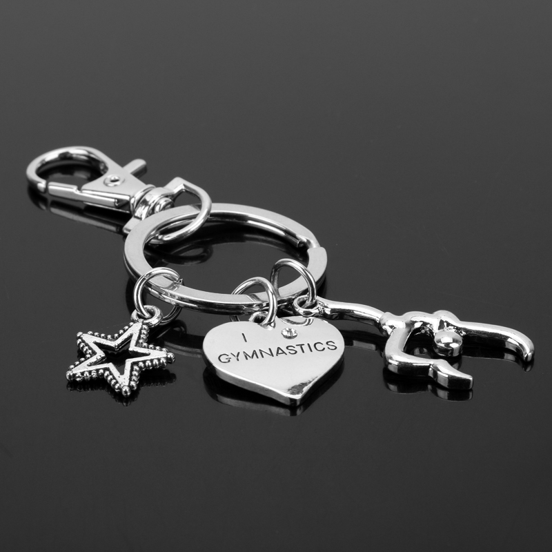 Gymnastics Sport Lover Key Chain She believed she could so she did Alloy Keychain Accessories Pendant Key Ring Charms Keychains
