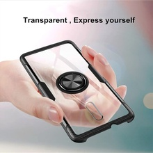 Transparent Acrylic Phone Case for OPPO Reno Magnetic Car Holder Back Cover 10X Zoom F7 A3  Anti-knock Fundas
