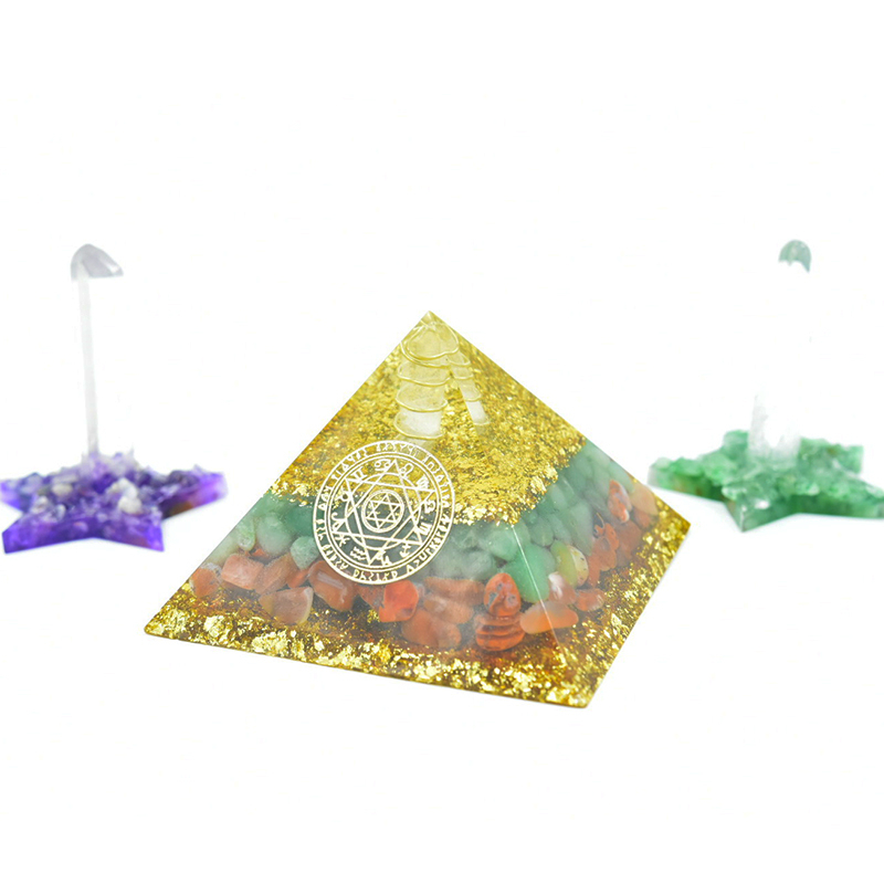 Aura Orgon Pyramid Seven Chakras Stone Orgonite Energy Crystals Original Home Office Decor Resin Reiki Gift Decoration